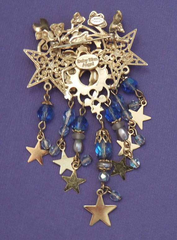 KIKS FOLLY Baby Blue Angel BROOCH Pin - Cherub Dragonfly Stars-3 1/2 inches long