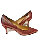 LA CANADIENNE PINK GOLD CRACKLED LEATHER KITTNE HEELS Size US 8 M / EURO 39 - $55.99