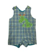 Austin & Ashley dinosaur dragon plaid shortall short set SIZE 24 MONTHS - $12.82