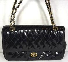 Meyers Vintage Quilted Black Patent Shoulder Bag Adjustable Gold Chain S... - $48.49