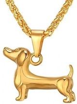 U7 Dog Necklace 18K Gold Plated Pet Dachshund Pendant Necklace With 22 Inch - $31.65