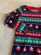 Jammies For Your Families Girls Navy Blue Green Red Snowman Fleece Night... - $9.28