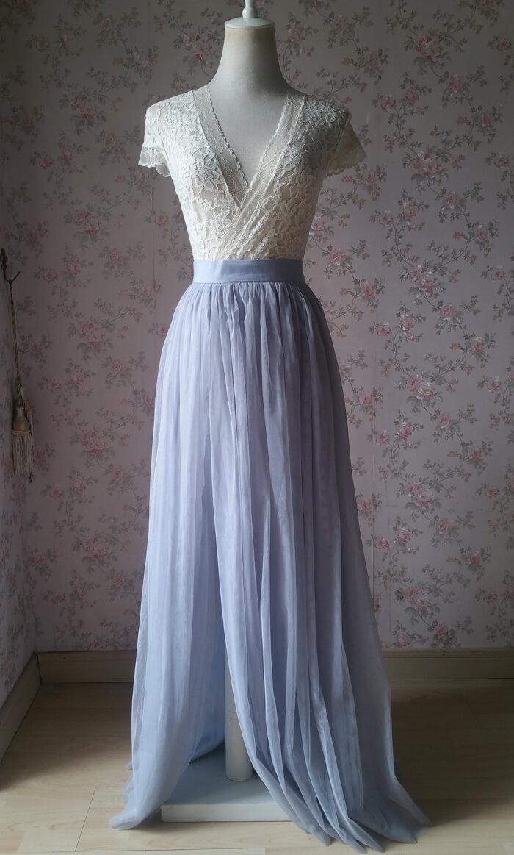 Slit tulle skirt 03 silvergray