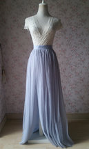 Adult Maxi Tulle Skirt with Slit Silver Gray Bridal High Slit Tulle Skirt Plus  image 1