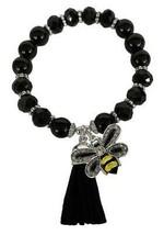Bumble Bee Black Glass & Semi Precious Stone Tassel Stretch Bracelet Jewelry - $15.83