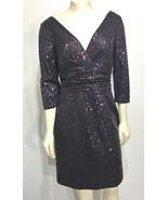 Kay Unger NY 10 Plum Purple Sequin V-Neck Cocktail Dress 3/4 Sleeves Kne... - $86.73