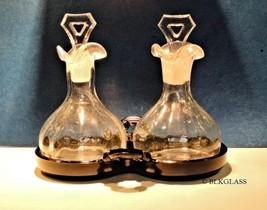 Cambridge Glass Pair Clear Cruets Set Black Tray Oil Vinegar Scented Oil... - $78.99