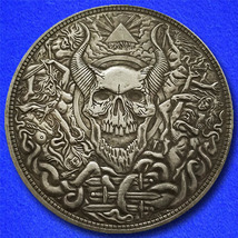 "Devil Skull Domain ""Hobo Nickel"" on Morgan Dollar Coin ** - $4.79"