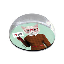 """White Cat Human Body Illustration Hipster 2"""" Crystal Dome Magnet or Pape... - $15.99"""