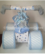 Light Blue and Grey Themed Baby Boy Shower Decor Four Wheeler Diaper Cak... - $50.00