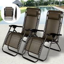 2 PCS Zero Gravity Folding Lounge Beach Chairs Outdoor Recliner in Black... - $118.40