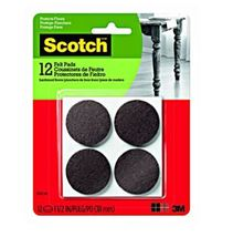 """12 CT BROWN ROUND FELT PADS 1 1/2"""" Diameter Scotch Protects Floors- SP823-NA"""