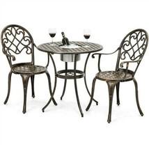 Outdoor 3-Piece Patio Furniture Bistro Set in Antique Copper Finish w Ic... - $282.15