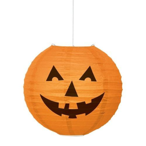 Round Pumpkin Paper Lantern Halloween Orange 10""