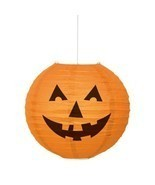 "Round Pumpkin Paper Lantern Halloween Orange 10"" - £4.16 GBP"