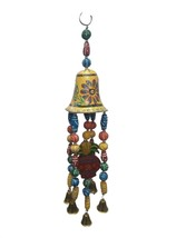 Indian Wooden Wind chimes bell authentic vintage art design wood home décor - $15.84