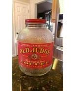 OLD JUDGE COFFEE OWL VINTAGE ORIGINAL GLASS 1LB POUND JAR WITH LABEL & LID - $72.84