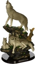 Indian Handicrafts Wolf Family On Rocks Sculpture - £27.22 GBP