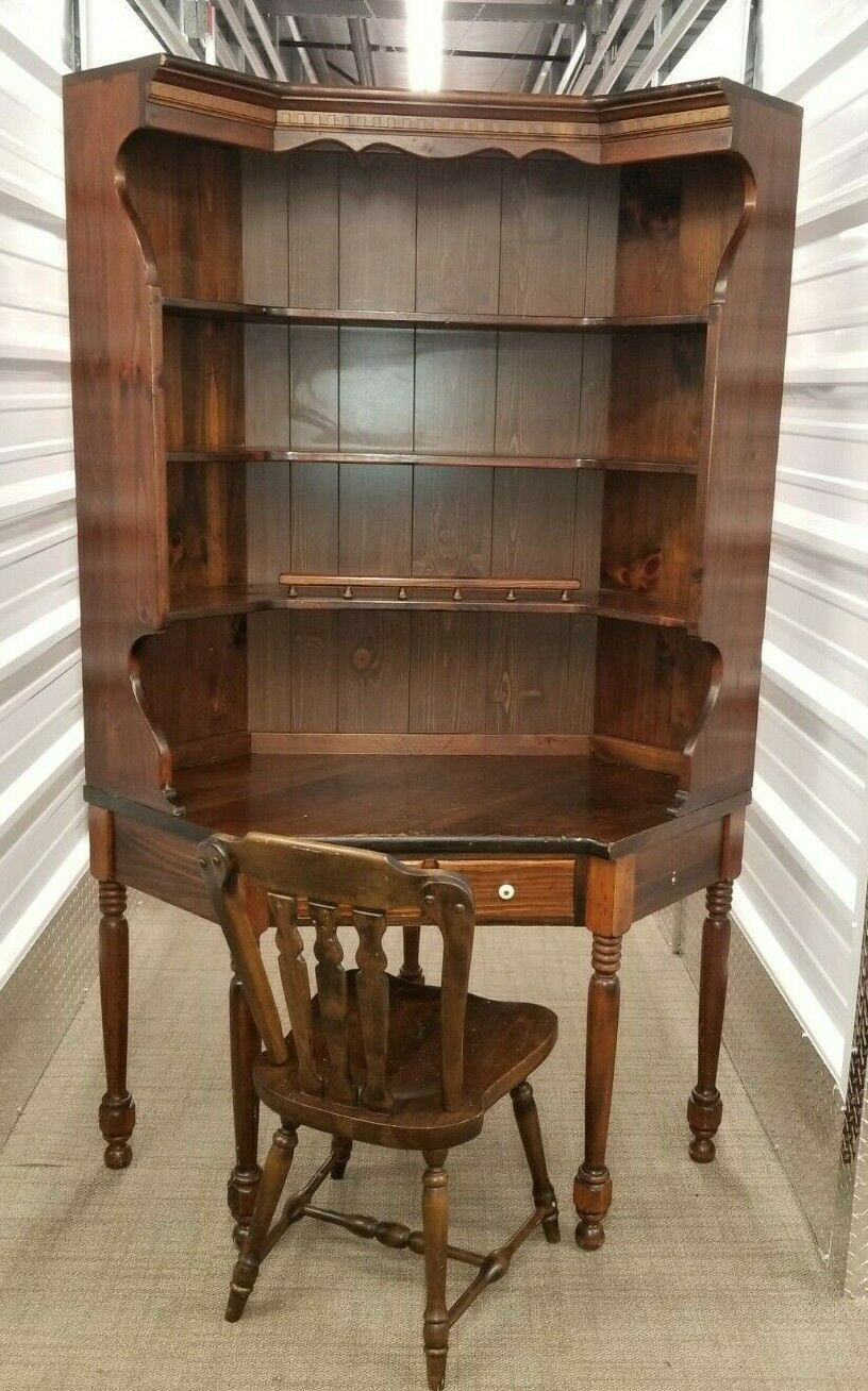 Primary image for Ethan Allen Antique'd Pine Corner Desk w/Hutch & Matching Chair