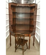 Ethan Allen Antique'd Pine Corner Desk w/Hutch & Matching Chair - $650.32