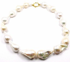 Collar Oro Amarillo 18K, Perlas Gota Grandes,Blanco,Freshwater,Barroco - $692.78
