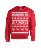 US Air Force Ugly Sweater Design American Flag XMas Unisex Crew Sweatshi... - $14.21+