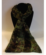 Hand Painted Silk Scarf Leopard Green Black Brown Unique Hair Wrap Oblong - $44.00