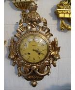 Swedish Westerstrand carved lindenwood gilded vintage wallclock - $182.00