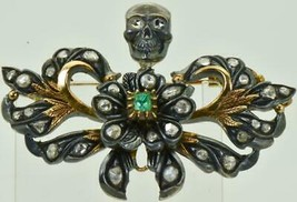 Antique victorian Memento Mori Skull 14k gold ,Diamonds & Emerald brooch... - $2,990.00