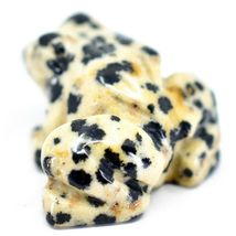 Dalmatian Dacite Gemstone Tiny Miniature Spotted Frog Figurine Hand Carved China image 3