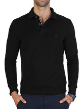 New Mens Nautica Windward Long Sleeve Black Classic Fit French Ribbed Polo M $79 - $28.99