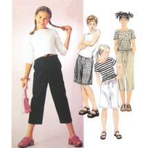 McCall 2600 Girls Long Short Sleeve Top PullOn Capri Pants Shorts Easy 7... - $6.95