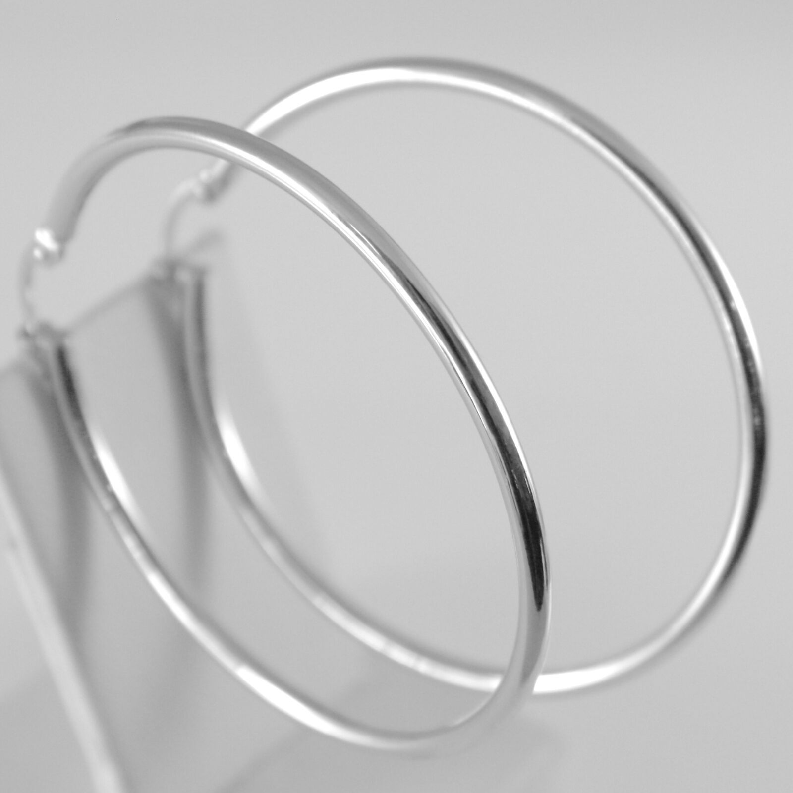 18K WHITE GOLD ROUND CIRCLE EARRINGS DIAMETER 40 MM, WIDTH 2 MM, MADE IN ITALY