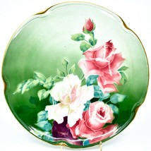"Antique K&G Keller Guerin Luneville Faience Rose Pattern 12.5"" Plate Platter image 2"
