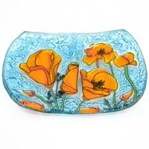Fused Art Glass Orange Poppy Poppies Flower Design Soap Dish Handmade Ecuador image 1