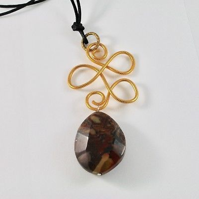 PENDANT ALUMINUM WITH JASPER NATURAL AND ROPE CORD WAXED BLACK
