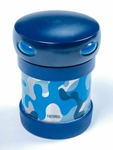 Thermos Blue Camo Stainless Steel Jar Hot Cold Wide Mouth Food Drink New - $7.91