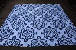 Pottery Barn Dorm Teen Full Queen Ikat Medallion Blue White Cotton Duvet Cover - $51.30
