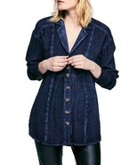 Free People Femmes All About The Feels OB887408 Chemise Midnight Navy Ta... - $50.51