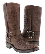 Mens Brown Biker Crocodile Belly Western Cowboy Boots Motorcycle Harness... - £139.28 GBP