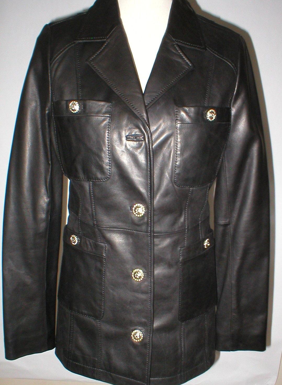 New Womens S Soft Karl Lagerfeld Paris Leather Jacket Black Silver Designer Lamb