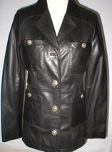 New Womens S Soft Karl Lagerfeld Paris Leather Jacket Black Silver Designer Lamb image 1