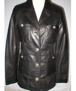 New Womens S Soft Karl Lagerfeld Paris Leather Jacket Black Silver Desig... - $250.00