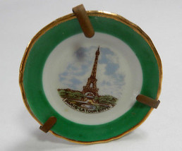 VINTAGE MINI  EIFFEL TOWER LOMOGES  PLATE  WITH PLATE  STAND - $24.70