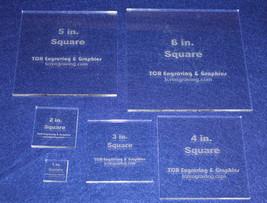 """6 Square Set 1"""" to 6""""  Clear Acrylic ~ 1/4"""" Laser Cut Quilt Templates- N... - $46.99"""