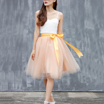 Midi Tulle Ruffle Skirt 6-Layered Ballerina Tulle Skirt Brown White image 5