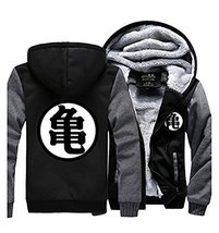 Anime Dragon Ball Thicken Jacket Fleece Winter Hoodie Kame Symbol Zip - $55.99