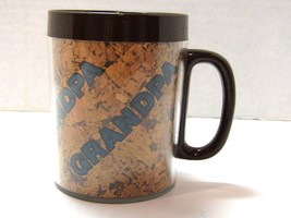 "Vintage Thermo-Serv Thermal Mug Brown Plastic Cork Grandpa Coffee Cup 4""... - $9.90"