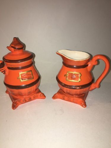 Vintage POTBELLY STOVE Sugar and Creamer Set -