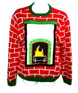 Party Sweater Mens Christmas Holidays Ugly Sweater Contest Fireplace Size L - $23.74